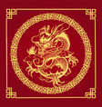 traditional chinese golden dragon on red vector image vector image
