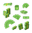 wads stacks rolls and piles of dollar banknotes vector image vector image