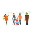 warmly dressed people winter time vector image vector image