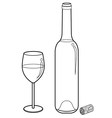 wine glass and bottle outline vector image vector image