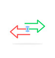 wireless transfer with color arrows vector image vector image