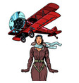 woman pilot a vintage biplane airplane isolate vector image