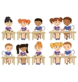 Set funny pupils sit on desks read draw clay vector image