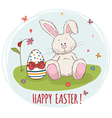 Happy Easter Easter bunny and egg in grass vector image