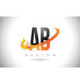 ab a b letter logo with fire flames design and vector image vector image