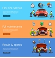 Auto mechanic service flat banners set vector image vector image