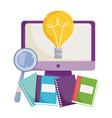 back to school class computer online books vector image vector image