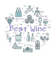 best wine round linear concept vector image