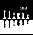 black and white chessmen set chess strategy vector image