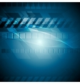 Blue tech background with wavy lines vector image vector image