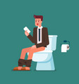 businessman using smartphone when sitting on vector image vector image