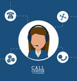 call center female agent line support vector image