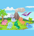cartoon badinosaurs in jungle vector image vector image