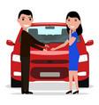 cartoon man giving car keys to a woman vector image vector image