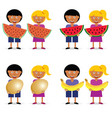 children holding egg and fruit set vector image vector image