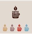 coffee drop and cup cafe flat icon vector image vector image