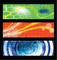 Collection Of Three Horizontal Technology Banner vector image