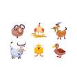 cute cartoon farm animals set sheep hen goat vector image vector image