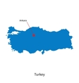 Detailed map of Turkey and capital city Ankara vector image vector image