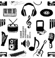 doodle seamless music pattern vector image vector image