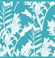 floral seamless pattern line split-leaf zamioculc vector image vector image