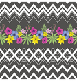 Floral Seamless Pattern with Zigzag Stripes vector image vector image