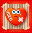 fragile heart cartoon background vector image