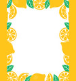 frame with whole slices and leaves lemons vector image vector image