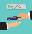 from hand to buy or sell a car vector image vector image