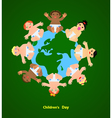 Funny children are on the planet vector image vector image