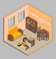 furniture installation isometric concept vector image vector image