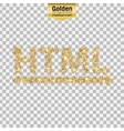 Gold glitter icon of html symbol isolated vector image vector image