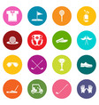 golf icons set colorful circles vector image vector image