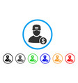 guy salary rounded icon vector image vector image