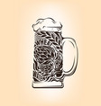 hand drawn vintage graphic with beer mug vector image