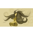 hand-drawn young woman in a meditative pose vector image vector image
