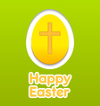 Happy Easter yellow eggs card with cross symbol vector image