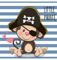 little monkey pirate vector image vector image