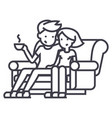 man and woman sitting on the sofa at home vector image