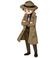 man in brown overcoat and hat vector image