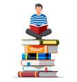 man sitting cross-legged on stack books vector image