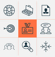 management icons set collection of global work vector image
