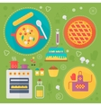 Modern cooking love flat concept Kitchen tools vector image vector image
