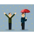Money rain Businessman with umbrella standing vector image vector image