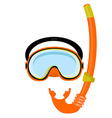 Orange diving mask and tube vector image