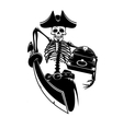 Pirate skeleton with treasures and sword vector image vector image