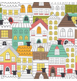 seamless pattern coloring houses vector image