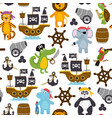 seamless pattern with funny pirates animals vector image