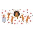set christmas reindeer vector image vector image
