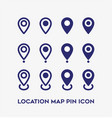 set location map pin icon on white background vector image